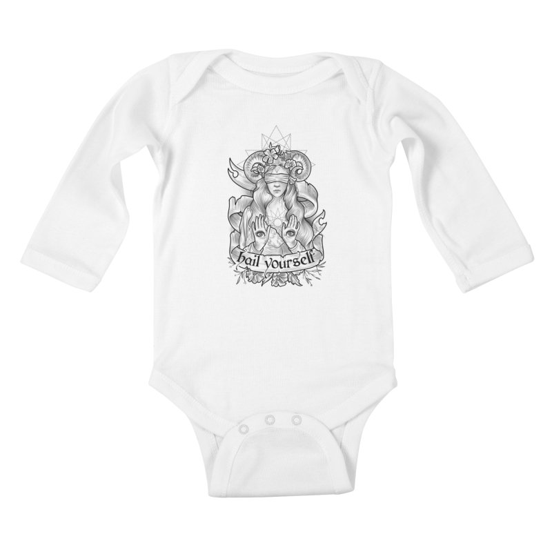 Hail Yourself! Kids Baby Longsleeve Bodysuit by Toadhouse Editions