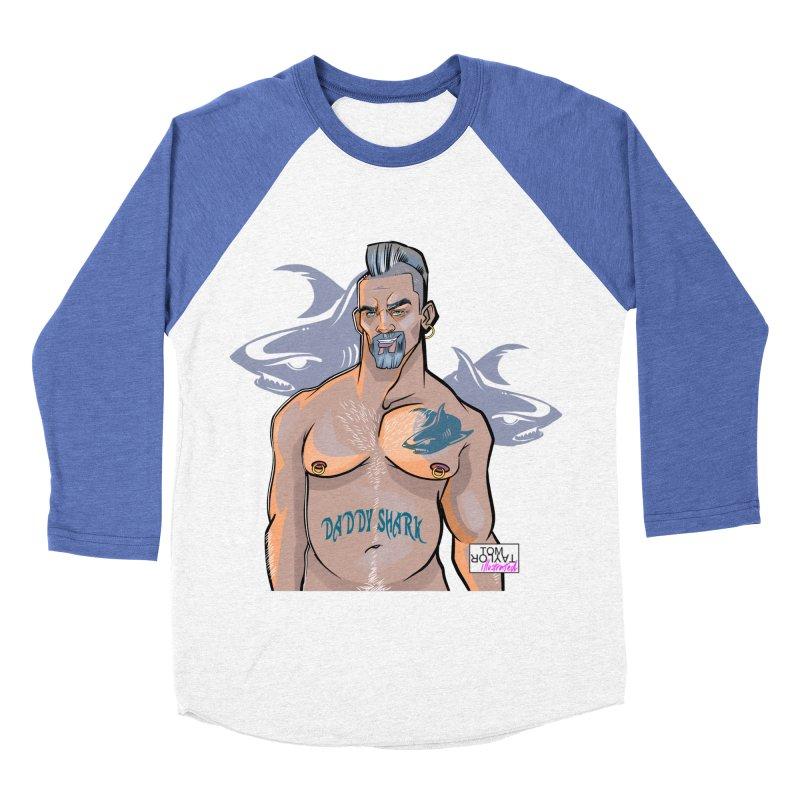 Daddy Shark Men's Baseball Triblend Longsleeve T-Shirt by Tom Taylor Illustrated