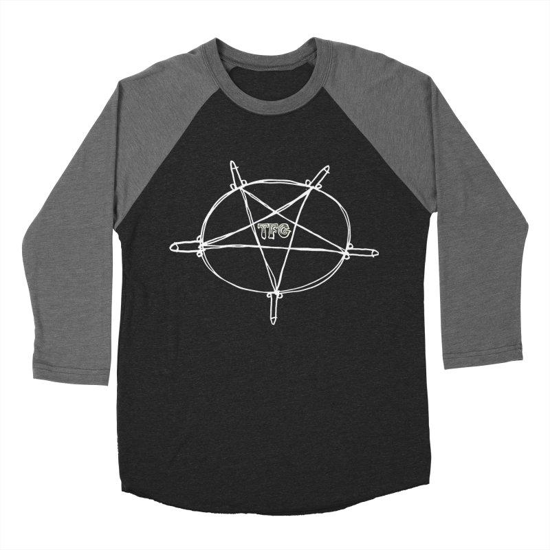 TFG Penis Pentagram White Men's Baseball Triblend Longsleeve T-Shirt by TotallyFuckingGay's Artist Shop