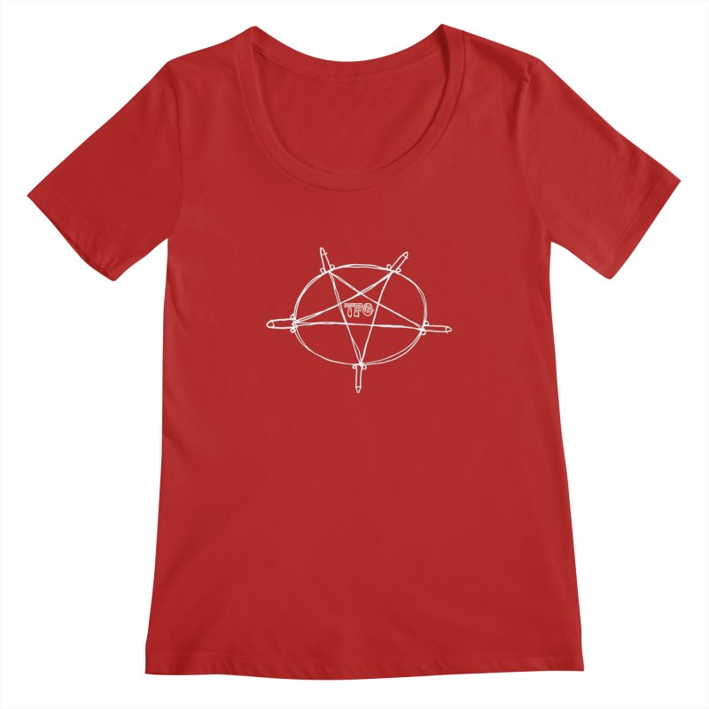 TFG Penis Pentagram White Women's Scoopneck by TotallyFuckingGay's Artist Shop