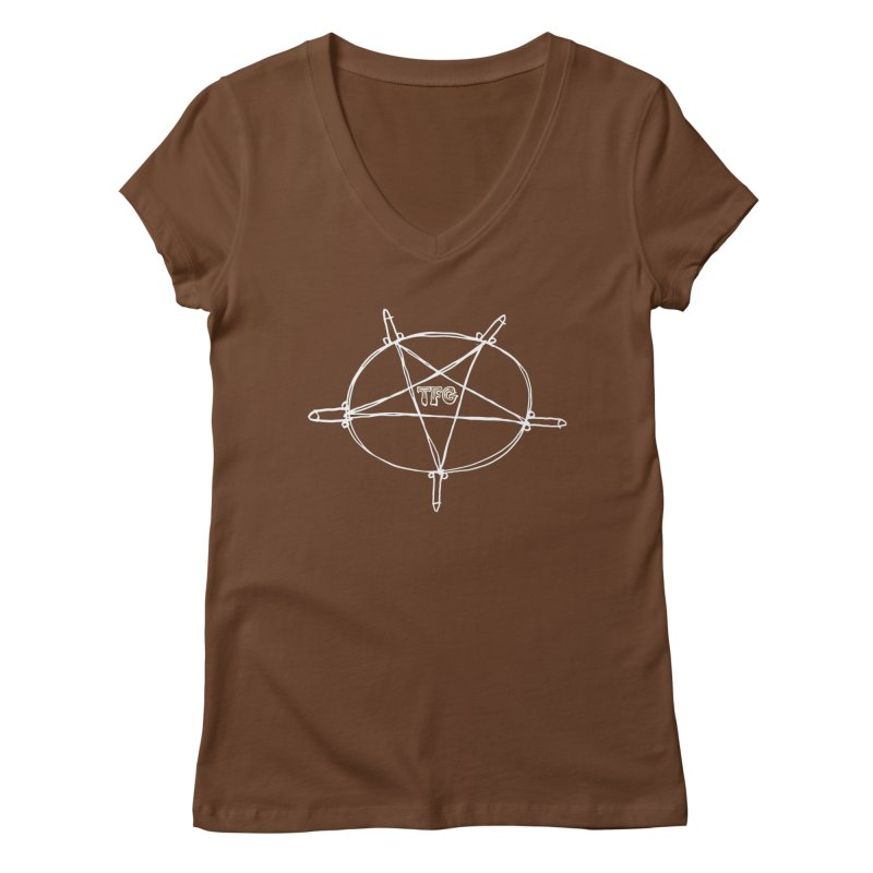 TFG Penis Pentagram White Women's Regular V-Neck by TotallyFuckingGay's Artist Shop