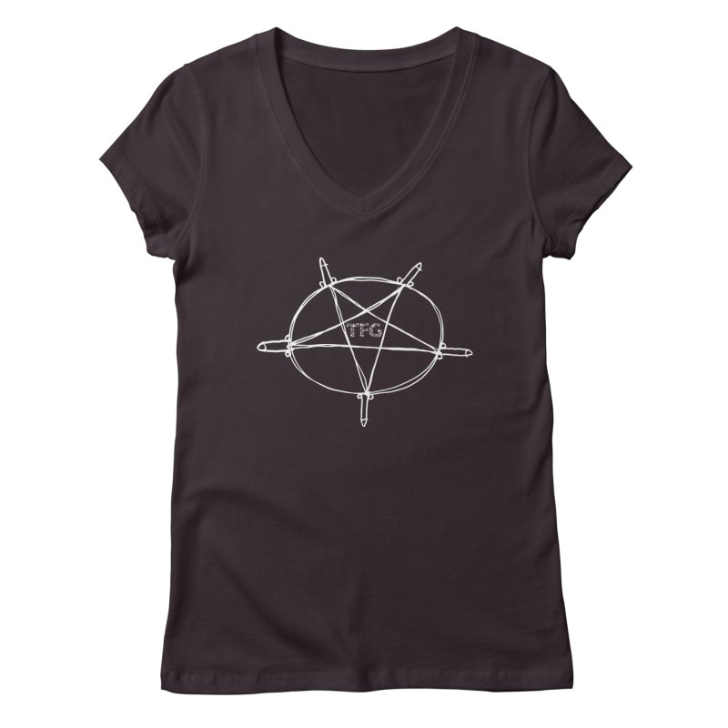 TFG Penis Pentagram White 2 Women's V-Neck by TotallyFuckingGay's Artist Shop