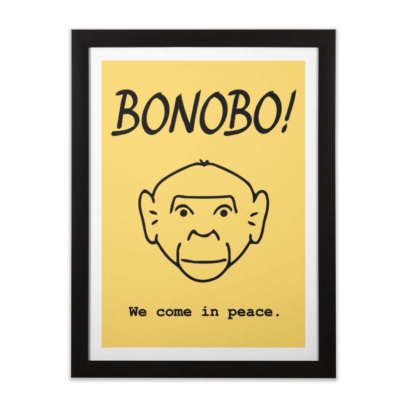 Bonobo! We come in peace. Home Framed Fine Art Print by Tracy Duvall's Shop