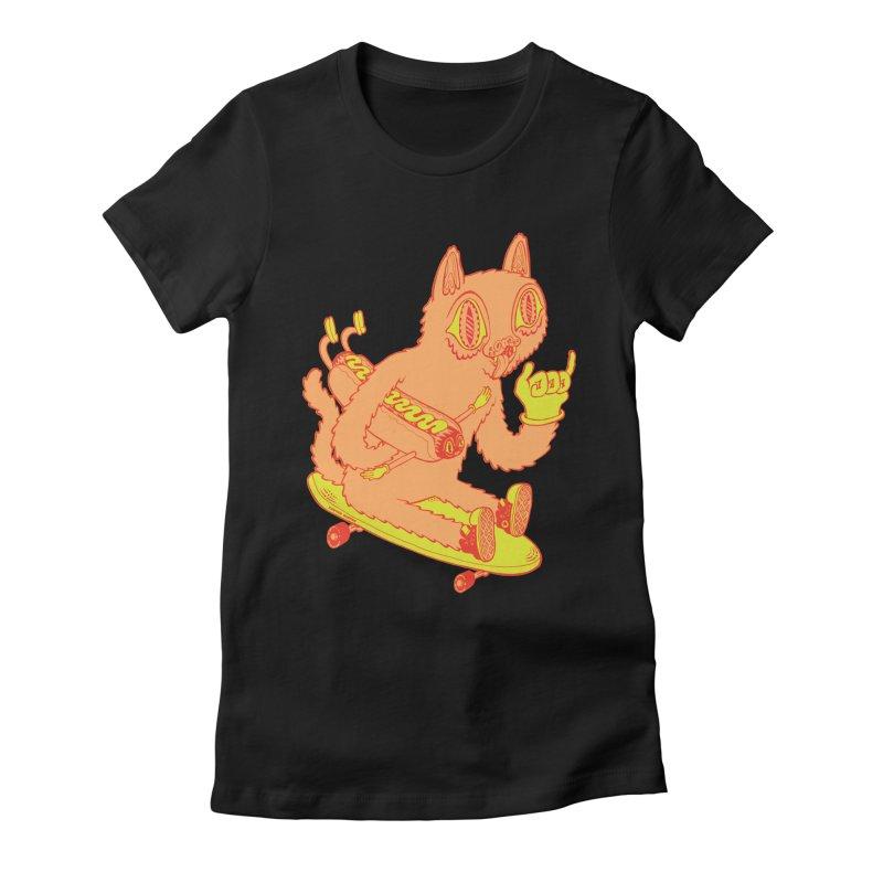 Hot Doggin' Women's Fitted T-Shirt by Tripperdungan's Artist Shop