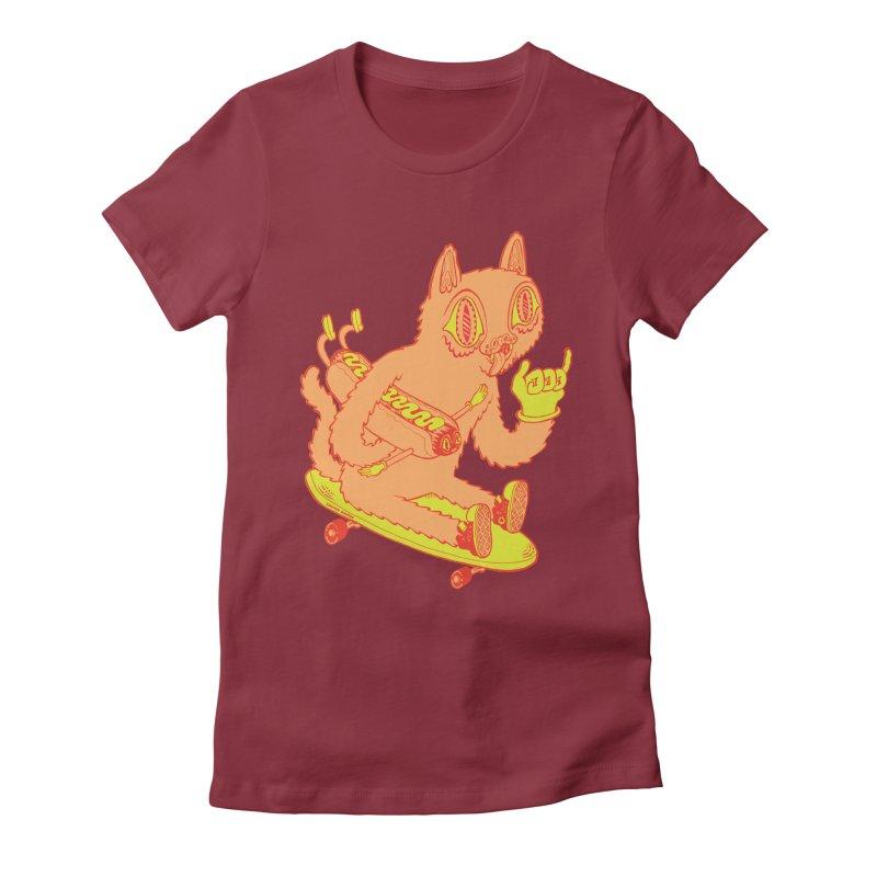 Hot Doggin' Women's Fitted T-Shirt by Tripper Dungan's Artist Shop