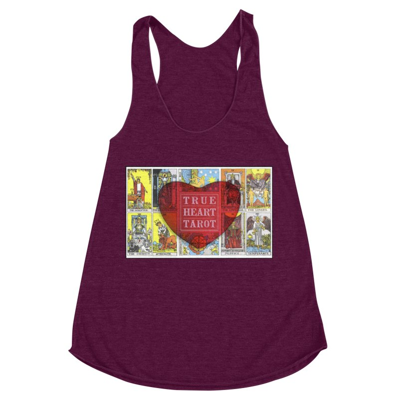 True Heart Tarot in Women's Racerback Triblend Tank Tri-Cranberry by True Heart by Rachel True