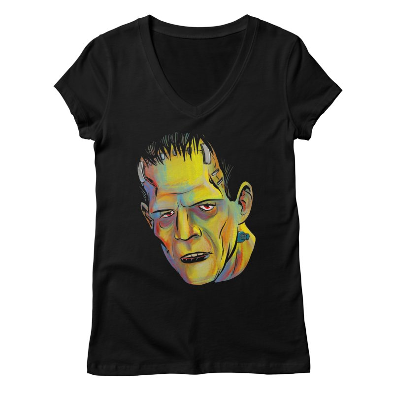 Frankenstein's Monster Women's V-Neck by Twin Comics's Artist Shop