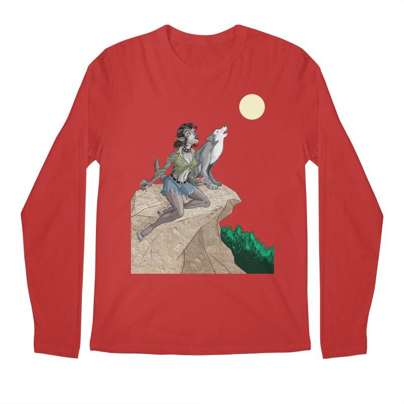Werewolf Pin Up Girl Men's Regular Longsleeve T-Shirt by Twin Comics's Artist Shop