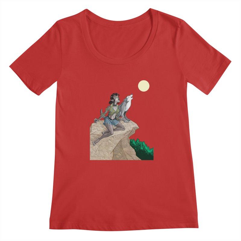 Werewolf Pin Up Girl Women's Regular Scoop Neck by Twin Comics's Artist Shop