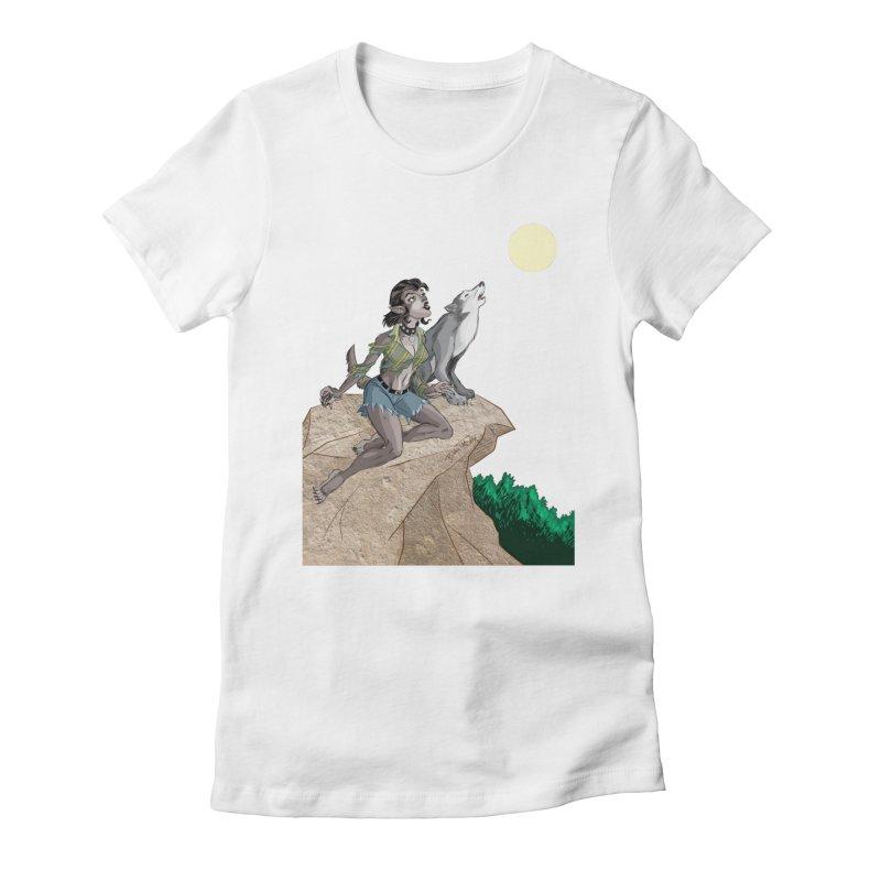 Werewolf Pin Up Girl Women's Fitted T-Shirt by Twin Comics's Artist Shop