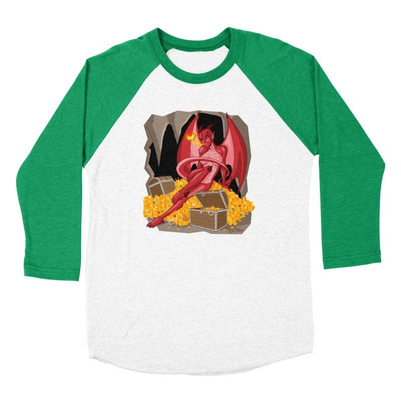Dragon Pin Up Girl Women's Baseball Triblend Longsleeve T-Shirt by Twin Comics's Artist Shop