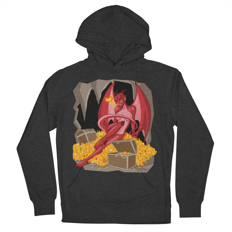 Dragon Pin Up Girl Women's French Terry Pullover Hoody by Twin Comics's Artist Shop