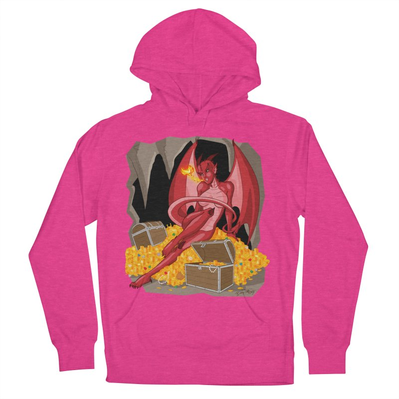 Dragon Pin Up Girl Men's French Terry Pullover Hoody by Twin Comics's Artist Shop
