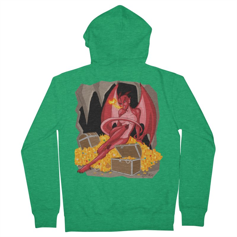Dragon Pin Up Girl Women's French Terry Zip-Up Hoody by Twin Comics's Artist Shop