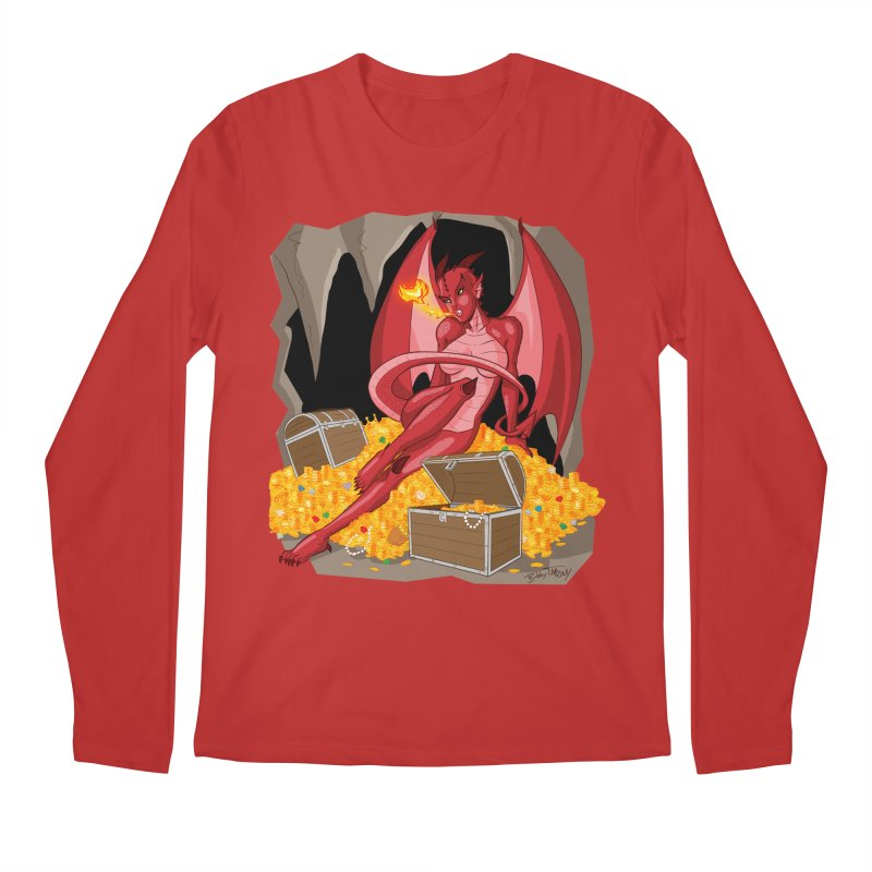 Dragon Pin Up Girl Men's Regular Longsleeve T-Shirt by Twin Comics's Artist Shop