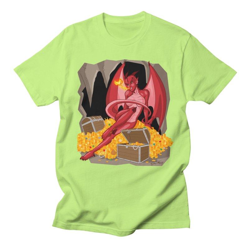 Dragon Pin Up Girl Men's Regular T-Shirt by Twin Comics's Artist Shop