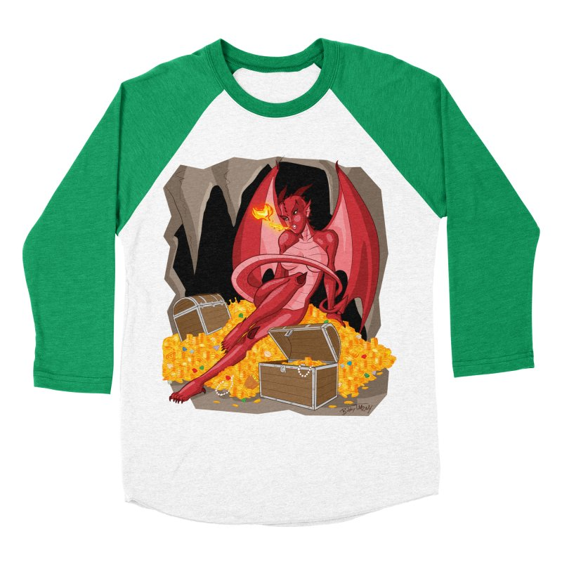 Dragon Pin Up Girl Women's Baseball Triblend Longsleeve T-Shirt by Twin Comics's Artist Shop