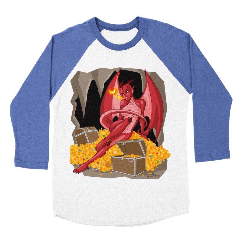 Dragon Pin Up Girl Men's Baseball Triblend Longsleeve T-Shirt by Twin Comics's Artist Shop