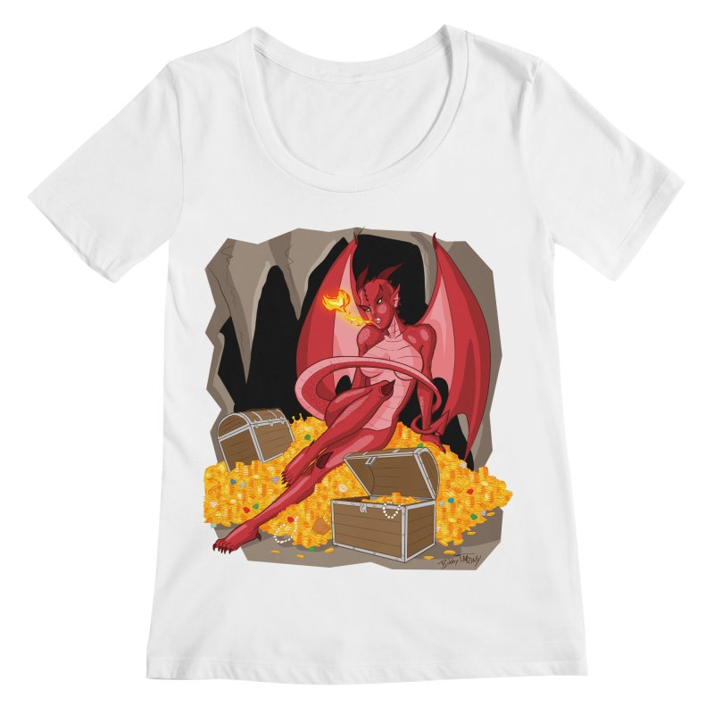 Dragon Pin Up Girl Women's Regular Scoop Neck by Twin Comics's Artist Shop