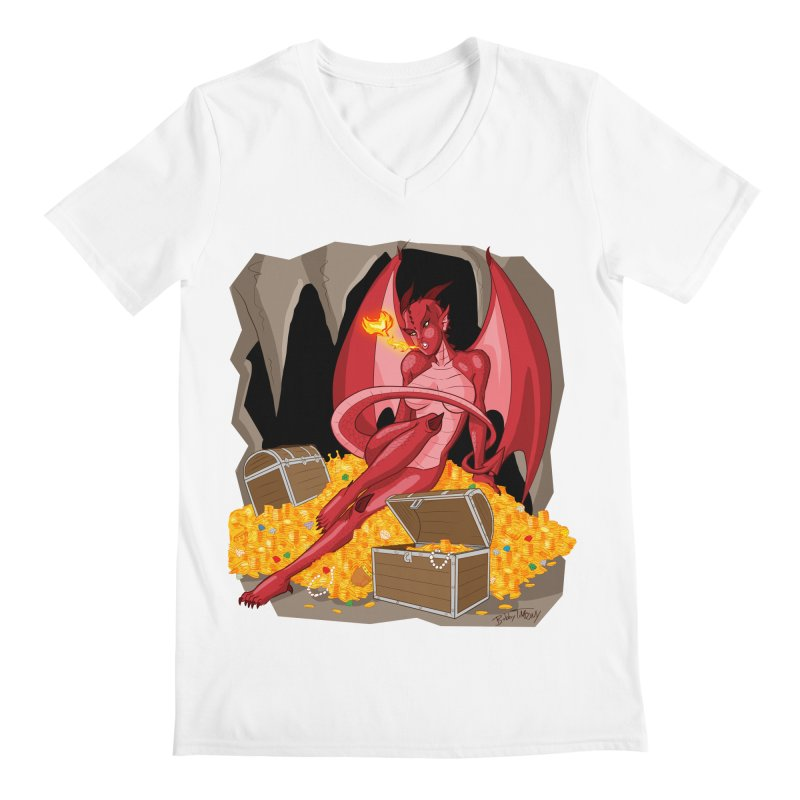 Dragon Pin Up Girl Men's V-Neck by Twin Comics's Artist Shop