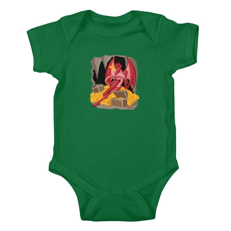 Dragon Pin Up Girl Kids Baby Bodysuit by Twin Comics's Artist Shop