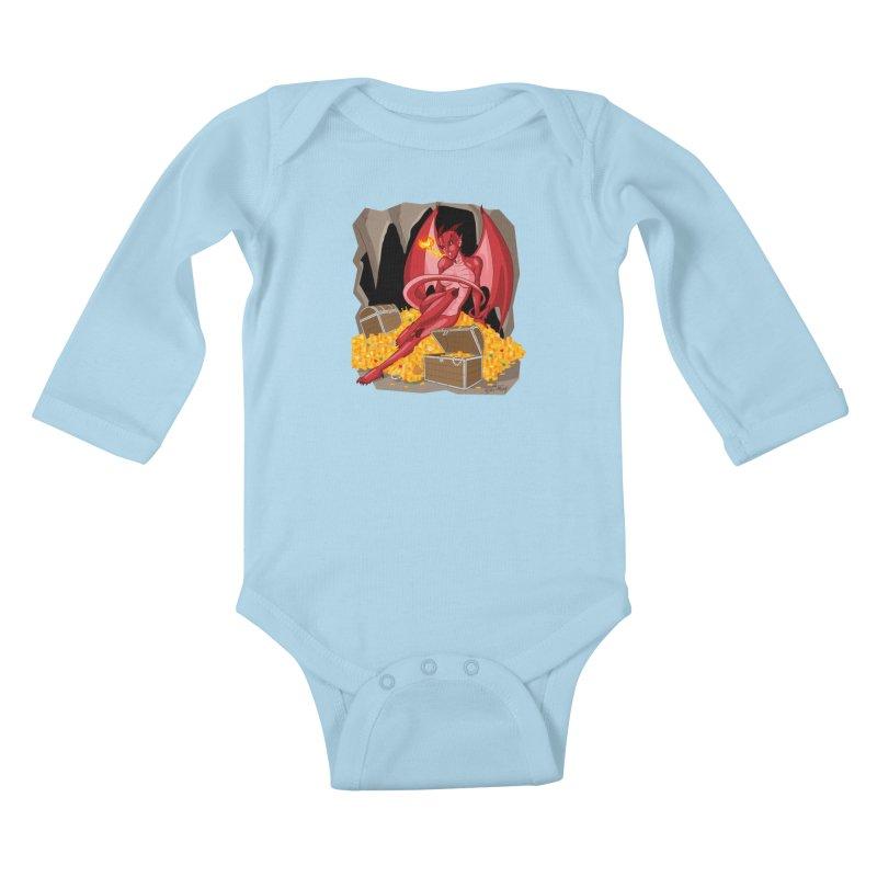 Dragon Pin Up Girl Kids Baby Longsleeve Bodysuit by Twin Comics's Artist Shop