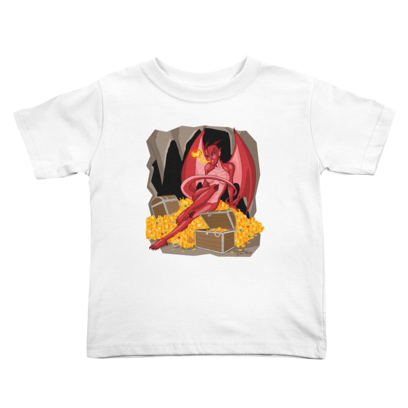 Dragon Pin Up Girl Kids Toddler T-Shirt by Twin Comics's Artist Shop