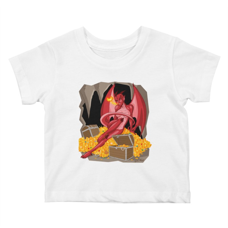 Dragon Pin Up Girl Kids Baby T-Shirt by Twin Comics's Artist Shop