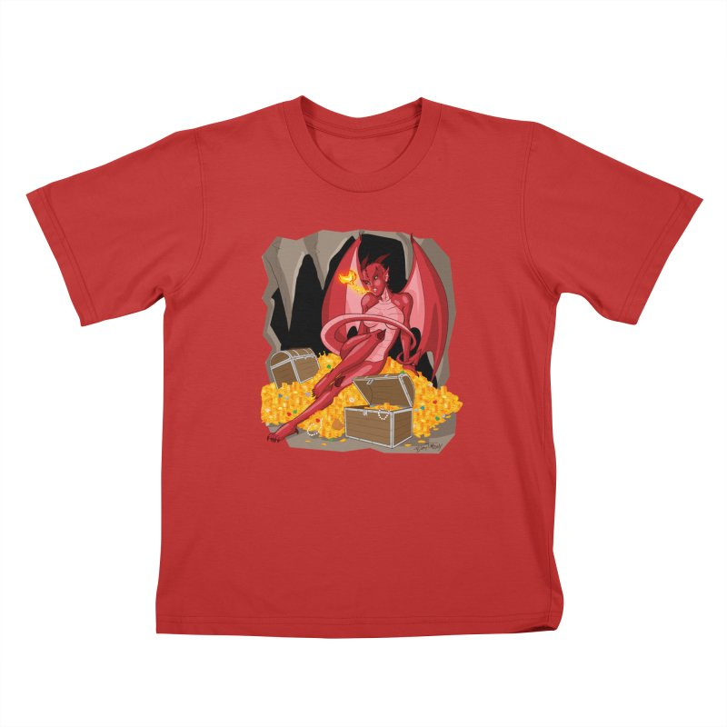 Dragon Pin Up Girl Kids T-Shirt by Twin Comics's Artist Shop