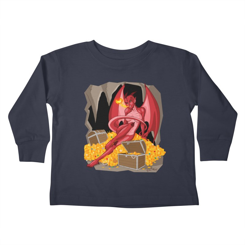 Dragon Pin Up Girl Kids Toddler Longsleeve T-Shirt by Twin Comics's Artist Shop