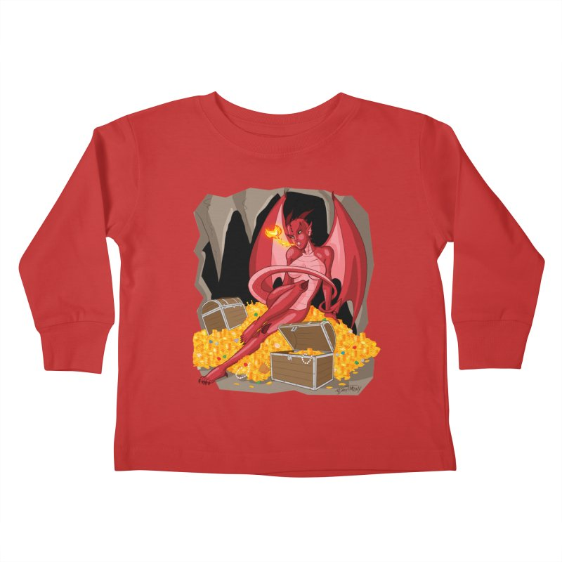 Dragon Pin Up Girl Kids Toddler Longsleeve T-Shirt by Twin Comics's Artist Shop