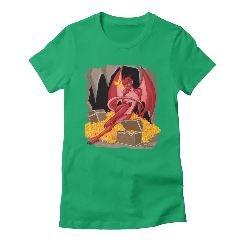 Dragon Pin Up Girl Women's Fitted T-Shirt by Twin Comics's Artist Shop
