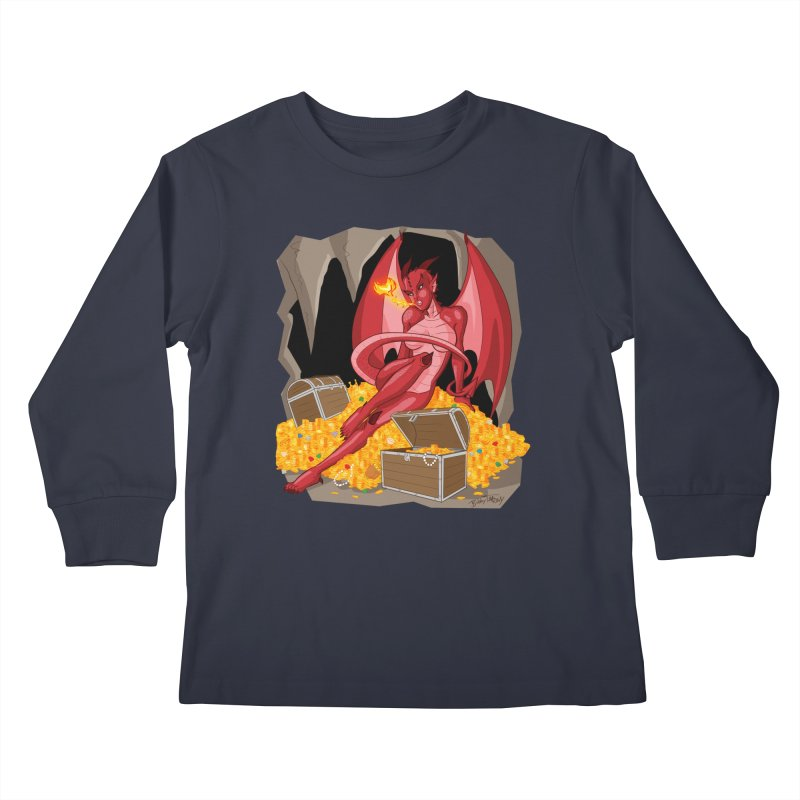 Dragon Pin Up Girl Kids Longsleeve T-Shirt by Twin Comics's Artist Shop