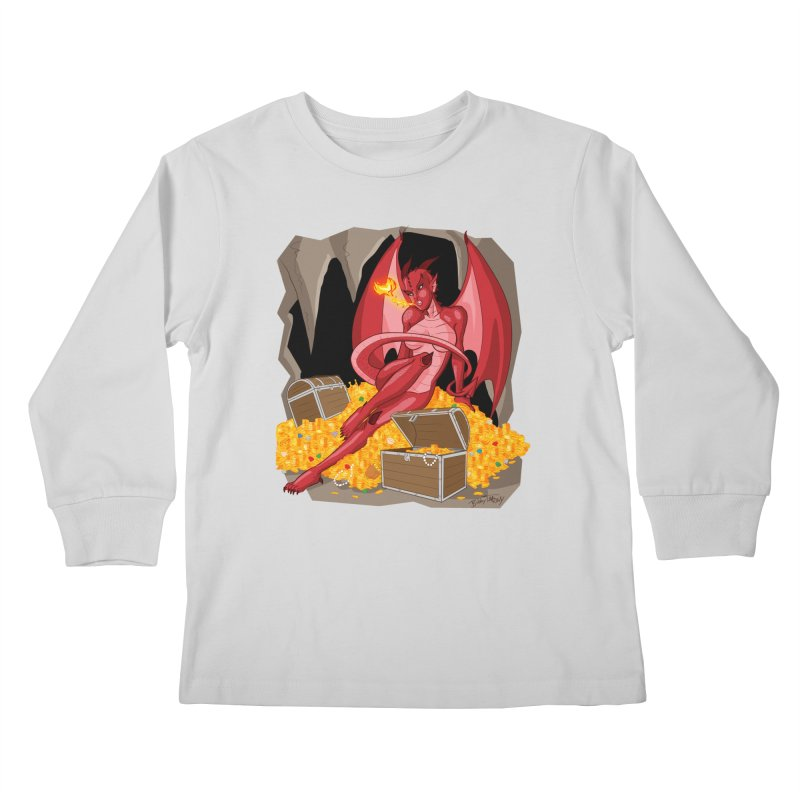 Dragon Pin Up Girl Kids Longsleeve T-Shirt by Twin Comics's Artist Shop