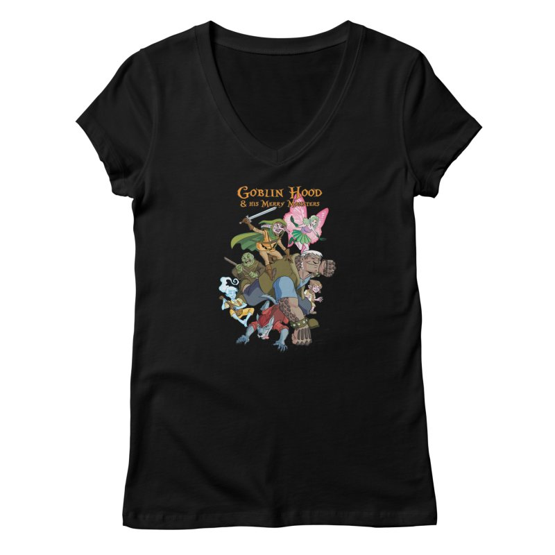 Goblin Hood & his Merry Monsters Women's V-Neck by Twin Comics's Artist Shop