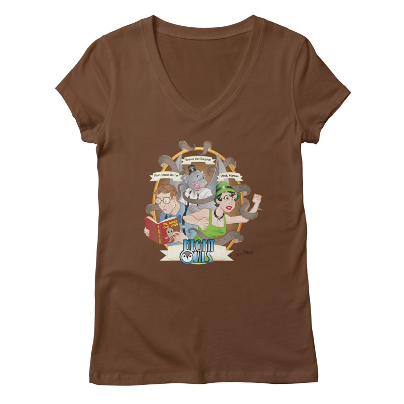 Night Owls Women's Regular V-Neck by Twin Comics's Artist Shop