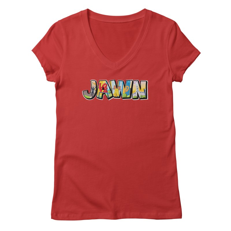 JAWN in Women's Regular V-Neck Red by TwistedPhillyPodcast's Shop