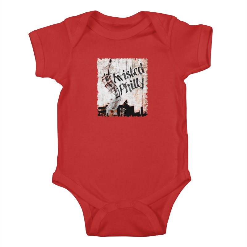Twisted Philly Logo in Kids Baby Bodysuit Red by TwistedPhillyPodcast's Shop