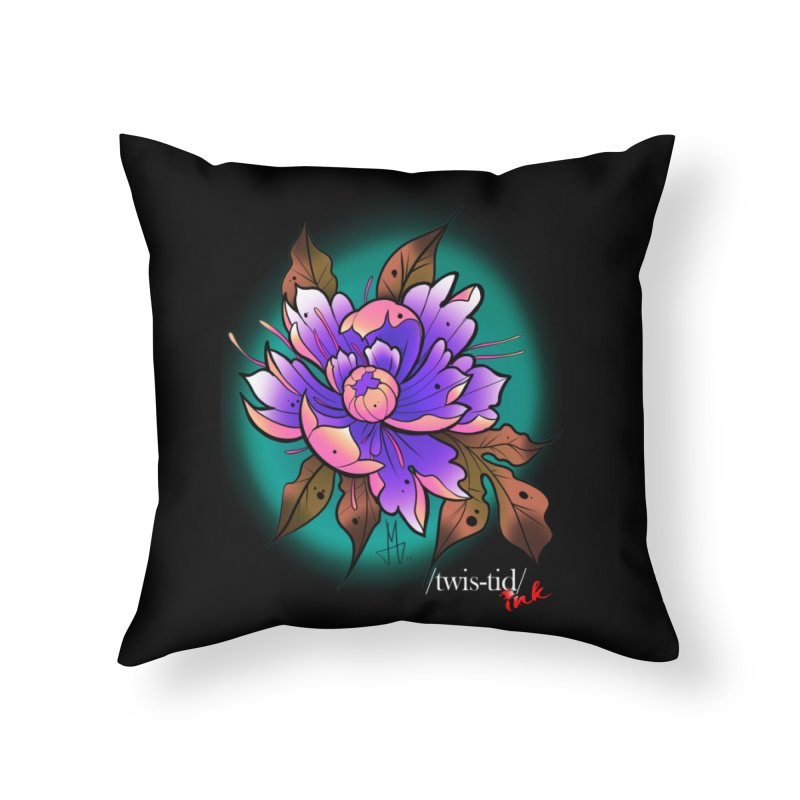 Twistid Flower pink n purple Home Throw Pillow by Twistid ink's Artist Shop