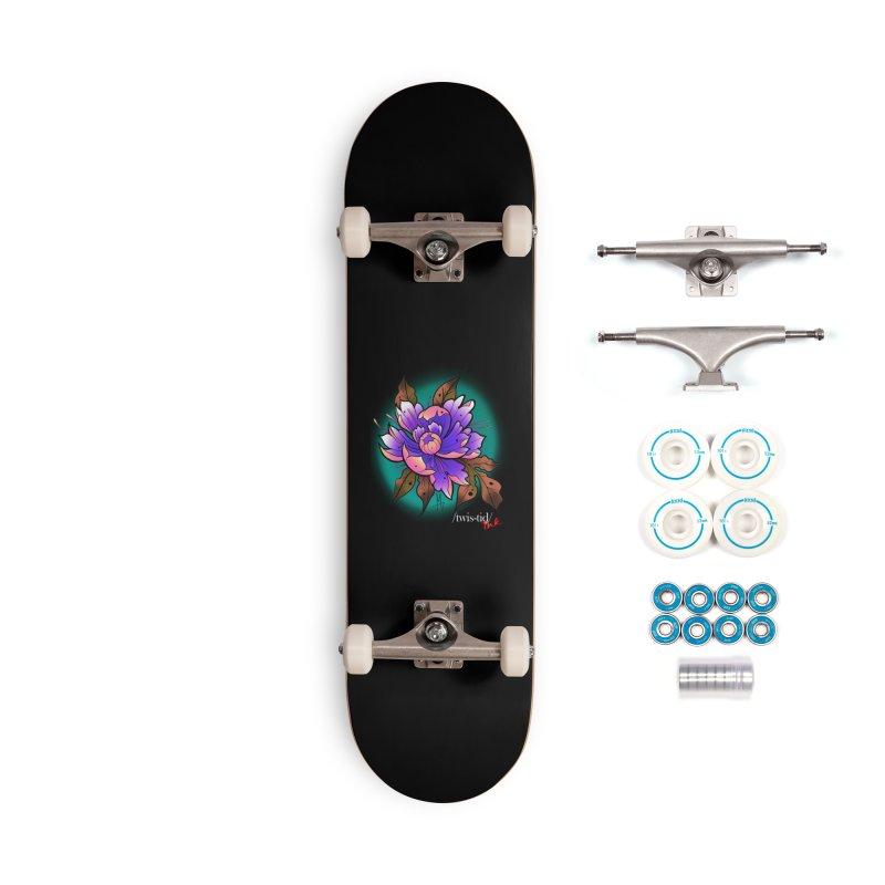 Twistid Flower pink n purple Accessories Complete - Basic Skateboard by Twistid ink's Artist Shop