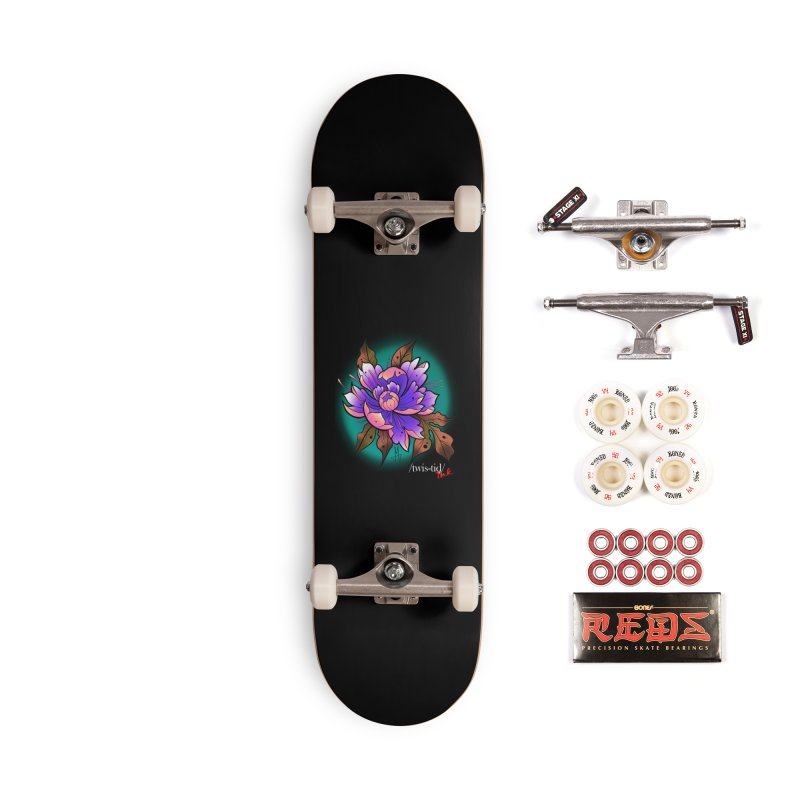 Twistid Flower pink n purple Accessories Skateboard by Twistid ink's Artist Shop