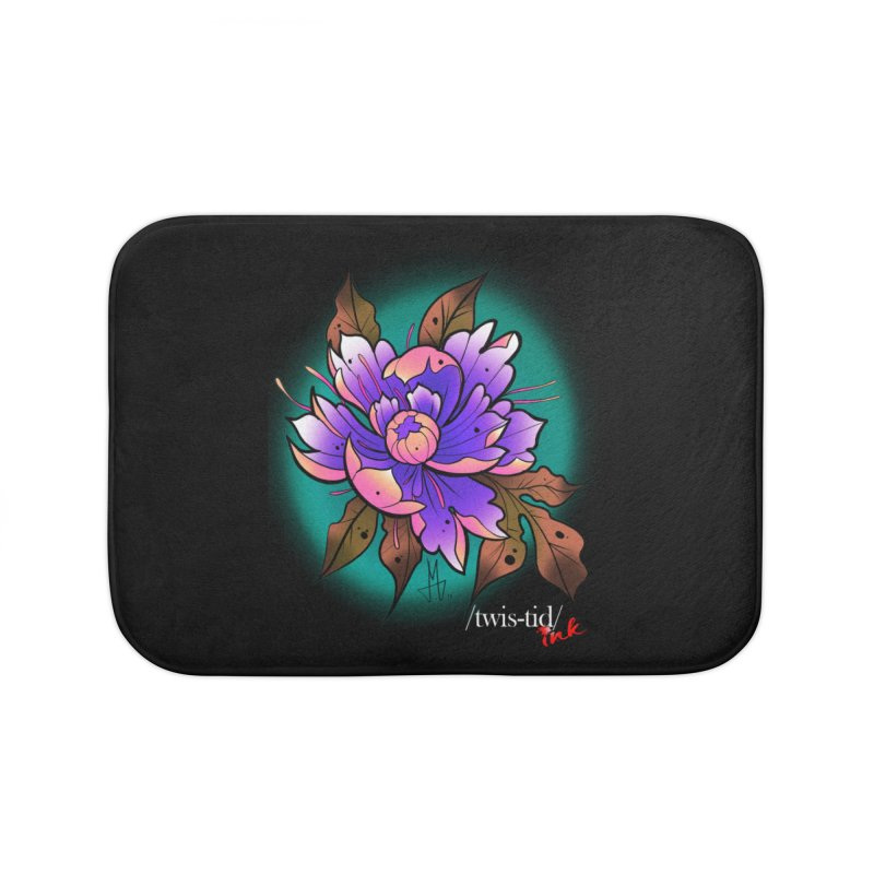 Twistid Flower pink n purple Home Bath Mat by Twistid ink's Artist Shop