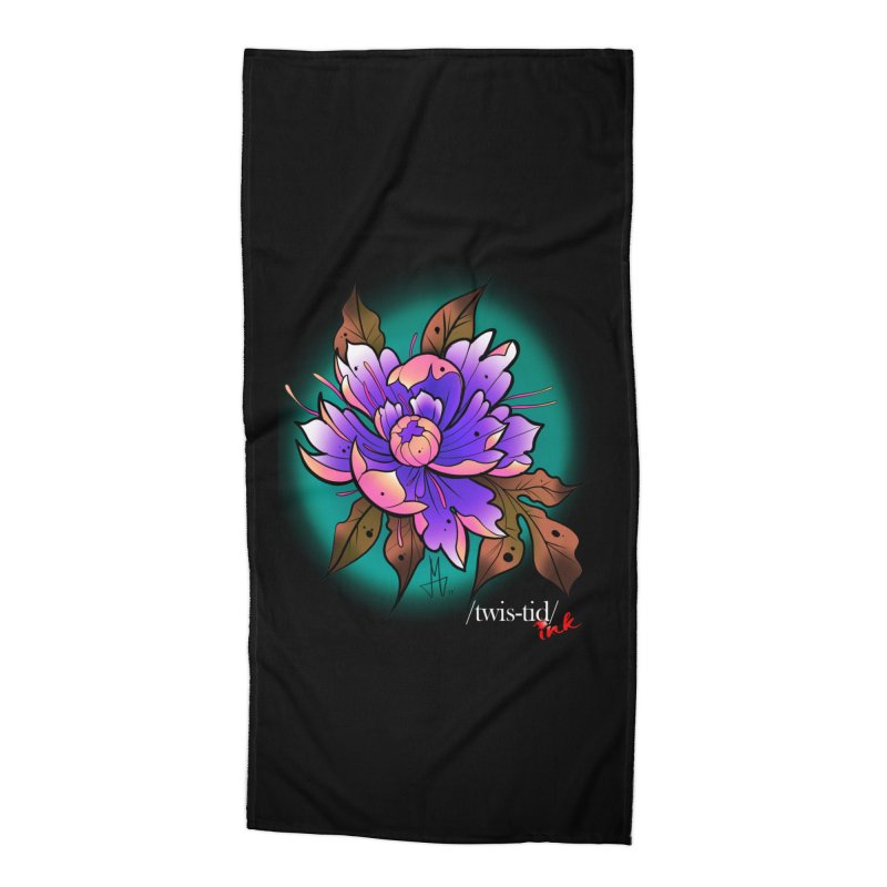 Twistid Flower pink n purple Accessories Beach Towel by Twistid ink's Artist Shop