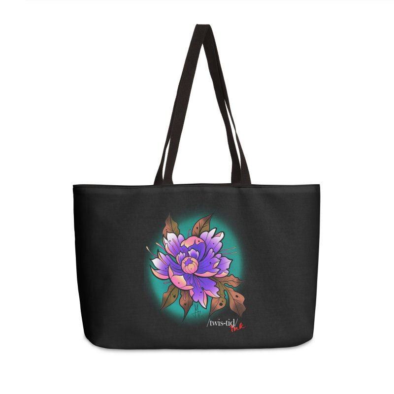 Twistid Flower pink n purple Accessories Weekender Bag Bag by Twistid ink's Artist Shop