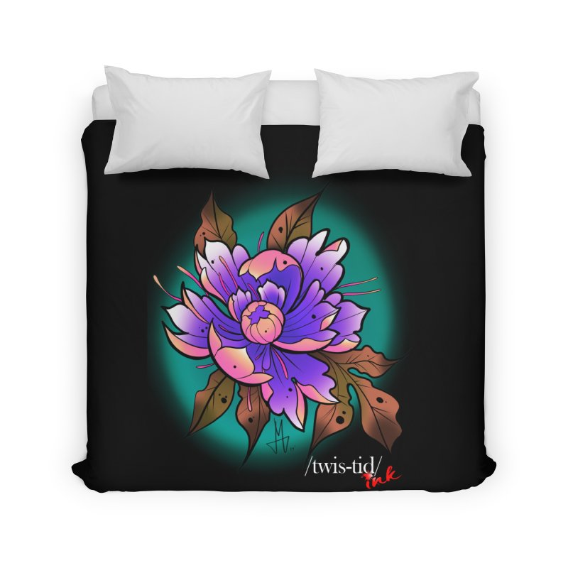Twistid Flower pink n purple Home Duvet by Twistid ink's Artist Shop