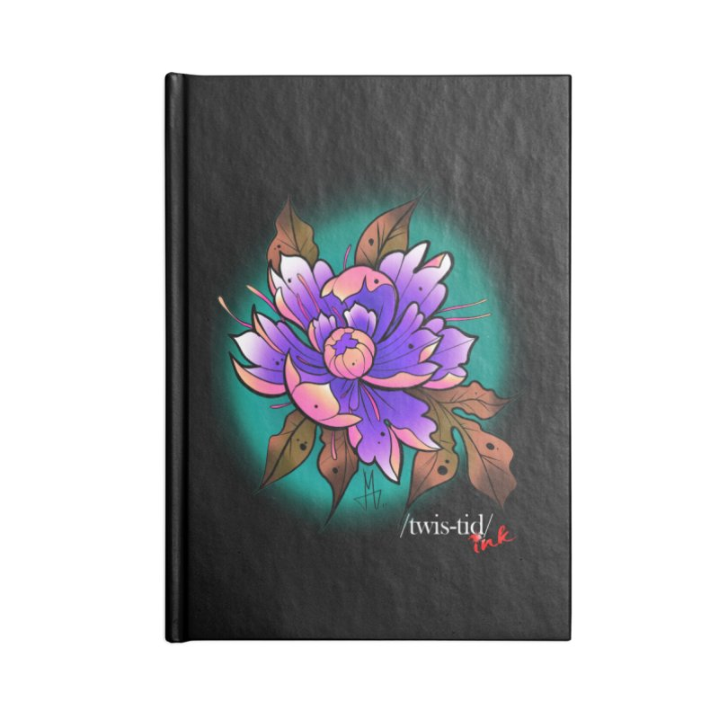 Twistid Flower pink n purple Accessories Blank Journal Notebook by Twistid ink's Artist Shop