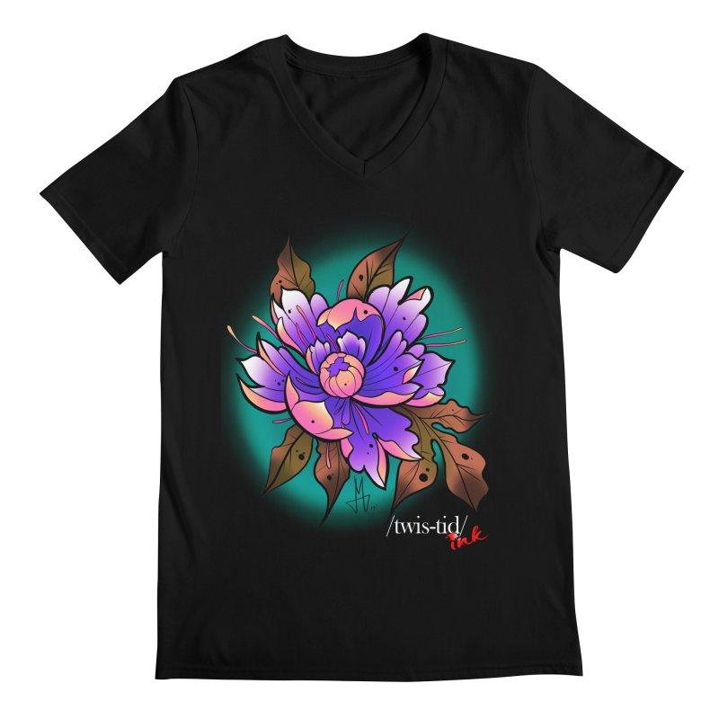 Twistid Flower pink n purple Men's V-Neck by Twistid ink's Artist Shop
