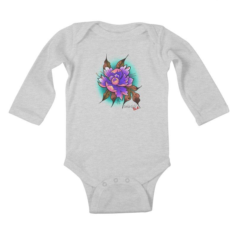 Twistid Flower pink n purple Kids Baby Longsleeve Bodysuit by Twistid ink's Artist Shop