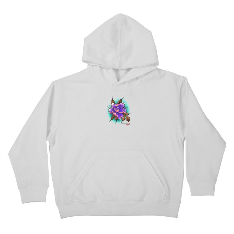 Twistid Flower pink n purple Kids Pullover Hoody by Twistid ink's Artist Shop