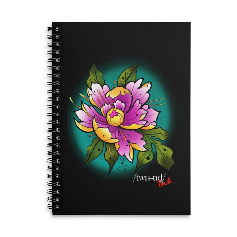 Twistid Flower yellow n pink Accessories Notebook by Twistid ink's Artist Shop